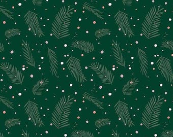 Christmas Decoration Fabric, Green Woodland Fabric, Evergreen Cotton, Winter Fabric, Forest Talk Fabric, Cathy Nordstrom, Pine Dots in Green