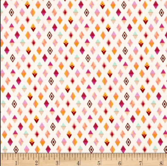 tula pink slow steady track flags in orange crush cream etsy