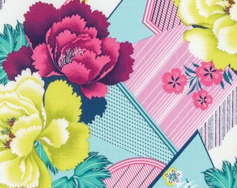 Amy Butler, Splendor, Double Fault Floral, Moonglow, Large Scale Floral, Carnation Fabric, Pink and Aqua Fabric, Pink Floral, PWAB164.MOONG