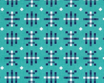 SALE Fabric, Anna Maria Horner, Honor Roll, Misguided Gingham in Teal, Free Spirit, Aqua and Navy Fabric, Turquoise