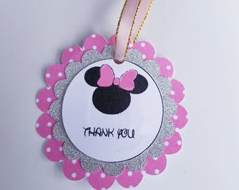 Minnie mouse Thank you tag, favor tag, Thank you tag, Minnie mouse, Mickey mouse, minnie mouse tags, Minnie mouse birthday, Mickey mouse