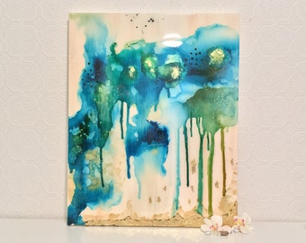 Blue Green Turquoise Drip Art Abstract Original Acrylic Ink Painting Canvas Gold Leaf Resin Glitter Beige Tan Wall Home Decor Collectible