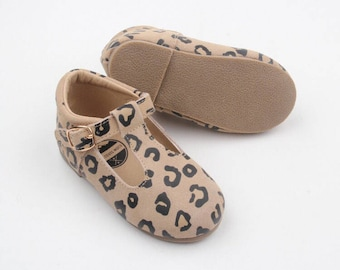 0fa8c6d16265 SALE     Toddler leather moccassins   Toddler mary janes   hard sole t-bar  shoes   leather baby mocs   Animal print Mary Janes   Leopard moc