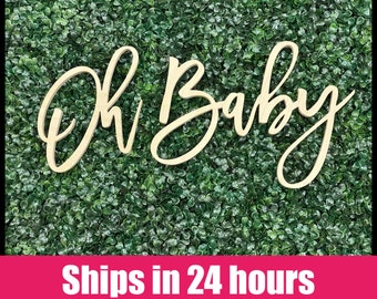 Oh Baby wood sign, Oh Boy wood baby shower sign, oh baby shower, Photo Booth, baby shower decor, baby shower backdrop Ships in 24 hours