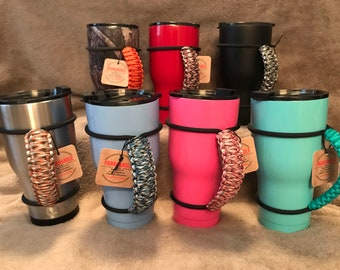 Black White Burgundy Handmade paracord handle colored elastic bungee holder fits most personalized custom stainless steel double insulated tumblers 20 30 32 40 oz