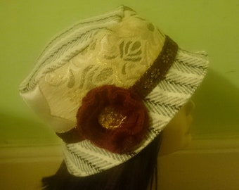 4a8562675c5 Ladies Bucket hat made from Tweed Fabric and Moroccan Brocade