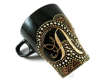 Personalized black mug, Hand painted coffee ceramic mug, Handmade pottery coffee mug, Pottery tea cup, Black gold mug Excellent mug for gift