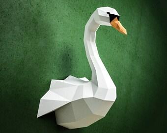 Papercraft Swan DIY Paper Craft Model PDF Template Kit Low Poly Sculpture Origami Animal Trophy Head Bird Goose Duck Pepakura