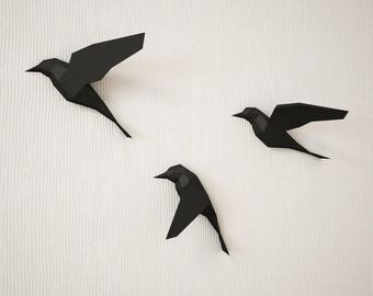 DIY Paper Birds On Wall 3D Papercraft Easy Model Sculpture Origami PDF Animal Low Poly Trophy Craft Template Kit Pepakura