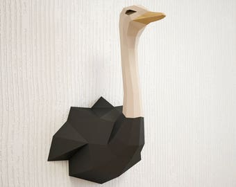 DIY Paper Craft Ostrich 3D Papercraft Animal Trophy Head Low Poly Bird Model Sculpture Create Your Own Camel Printable PDF