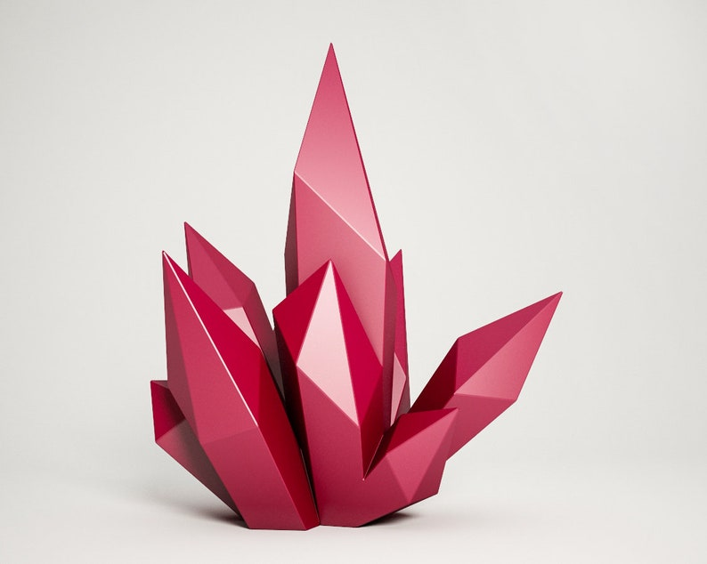 Diy Paper Craft Crystal 3d Papercraft Model Pdf Template Etsy
