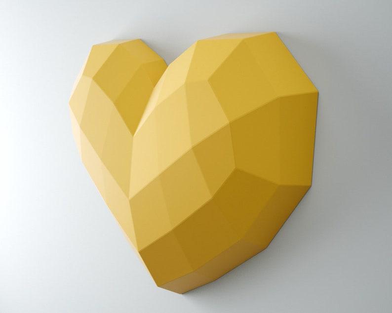 Papercraft Heart Xxl Easy Paper Craft Template Big Diy 3d Etsy