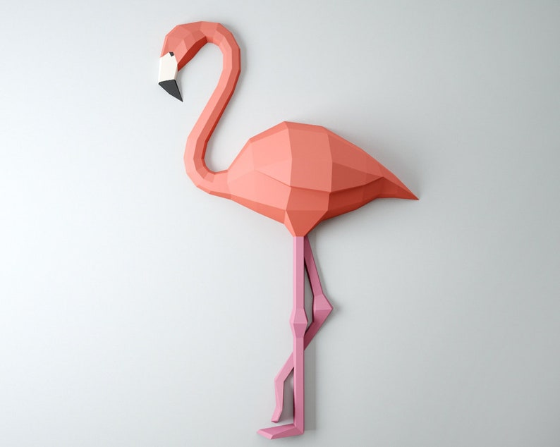 Papercraft Flamingo 3d Paper Craft Model Diy Paper Etsy