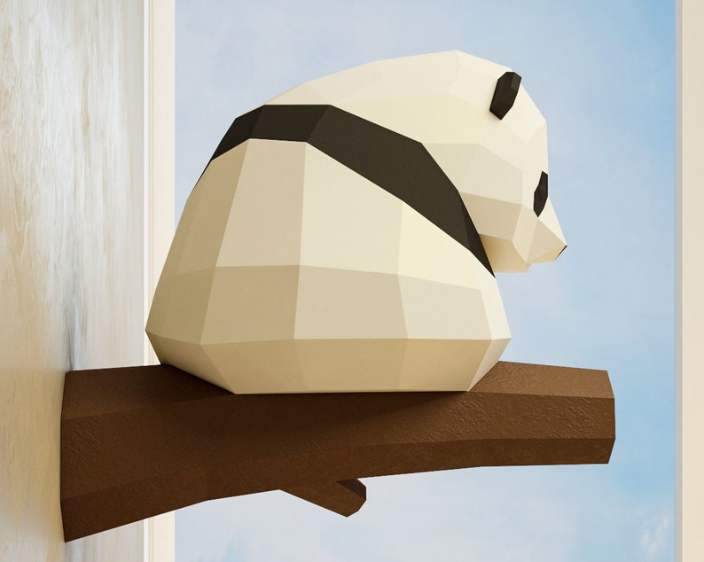 photograph about Printable 3d Paper Crafts named Papercraft Minor Panda, Do it yourself Paper craft, 3D template PDF package, create your particular reduced poly child panda, origami pepakura, dwelling decor notion, statue
