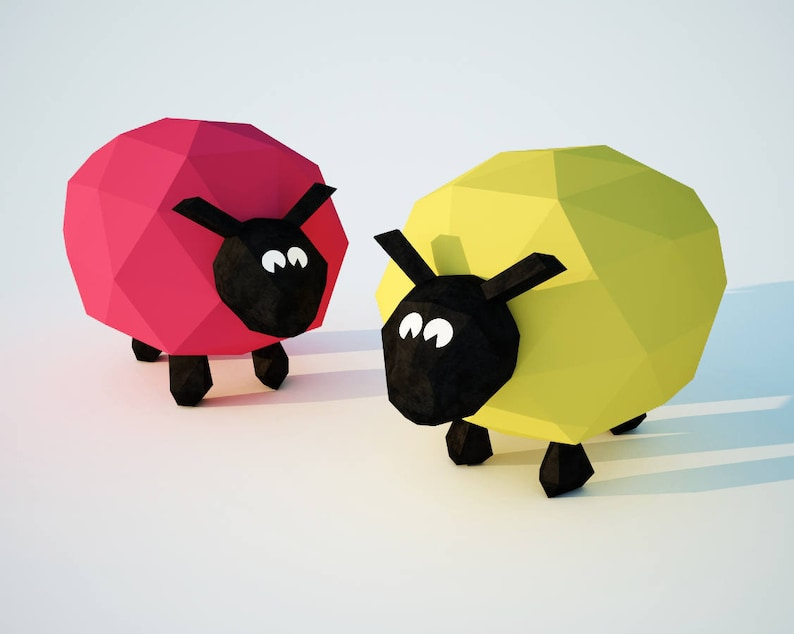 Papercraft Sheep, Paper Model lamb, 3D low poly sculpture Ram, PDF template  kit, paper craft animal, origami, DIY toy gift kids, pepakura