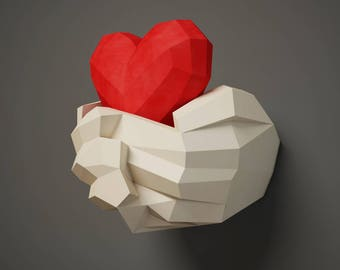 Paper craft Hands with Heart, Papercraft 3D wall decor, DIY gift love, valentines day, paper model sculpture, pdf template kit, pepakura