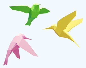 Papercraft Birds, How to make 3D paper craft, paper sculpture pattern, diy gift paper model, PDF template kit, low poly Bird,animal pepakura