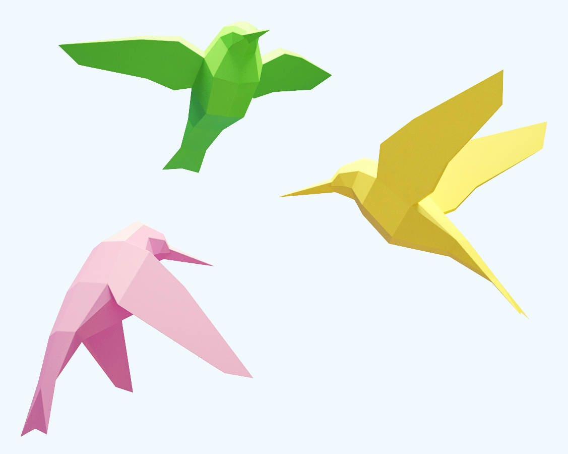 Papercraft Birds How To Make 3d Paper Craft Paper Sculpture Etsy