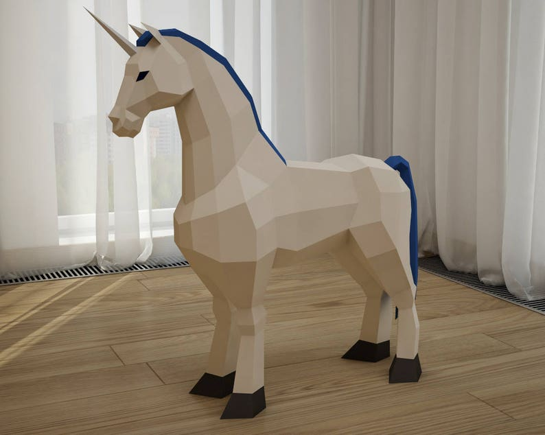 photograph relating to Printable 3d Paper Crafts known as Papercraft Unicorn, licorne printable 3D paper craft fashion, animal intellect trophy, sculpture, PDF template package, origami, very low poly paper practice