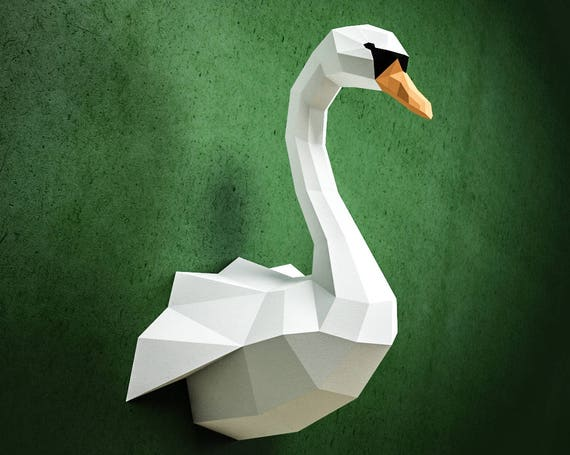 Papercraft Swan Diy Paper Craft Model Pdf Template Kit Low Etsy