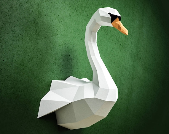 Papercraft Swan Diy Paper Craft Model Pdf Template Kit Low Etsy