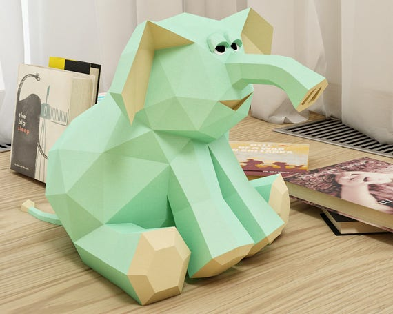 Papercraft Elephant 3d Paper Craft Toy Diy Paper Project Etsy