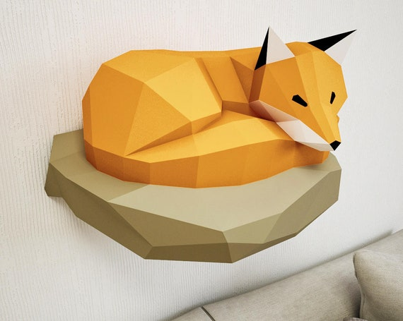 papercraft fox on rock paper model 3d paper craft paper etsy
