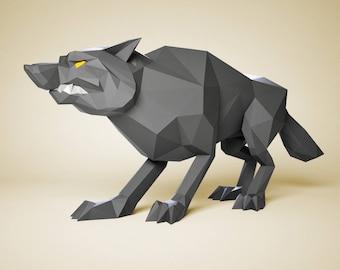 Paper craft Wolf, DIY paper Sculpture, Paper model gift, 3D paper craft, Pepakura files PDO, papercraft PDF pattern, 3D paper template kit