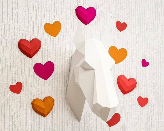 Background Hearts For Papercraft 3d Sculptures Printable Pdf Etsy