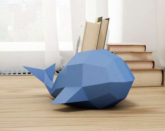 Easy Papercraft Template Simple Whale Model Diy Paper Craft Etsy