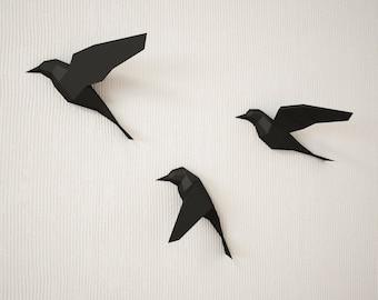 3D Papercraft Birds on wall, DIY paper model sculpture, origami, papercraft PDF animal low poly trophy, paper craft template kit, pepakura