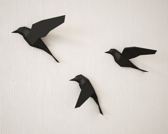 DIY Paper Birds On Wall 3D Papercraft Easy Model