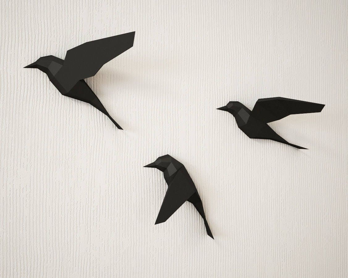 DIY Paper Birds On Wall 3D Papercraft Easy Model