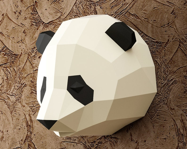 Papercraft Panda Head, paper craft 3D animal trophy, DIY kit digital PDF,  Low poly paper model, Polygonal Origami, Paper Sculpture, Pepakura