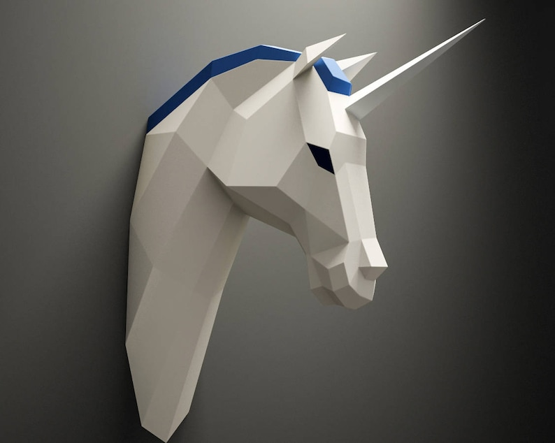 DIY Unicorn Head, licorne Paper Animal trophy, 3D Paper model, Low Poly  paper craft sculpture, papercrafting, pepakura kit, 3d origami PDF