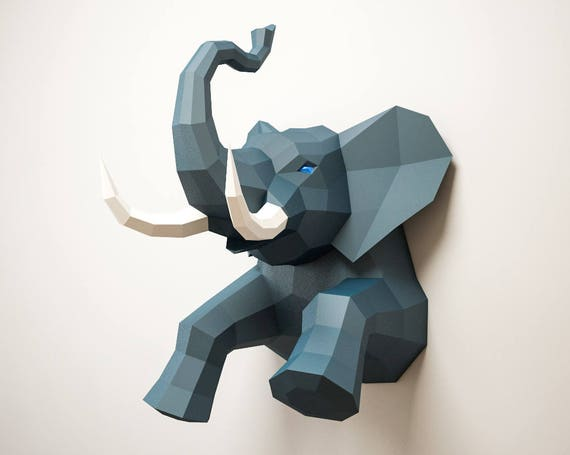 photo about Printable Paper Crafts for Adults referred to as 3D Papercraft Elephant, Do-it-yourself paper craft fashion, Artwork Job Programs, tridimensional sculpture template, PDF electronic printable package, origami pdo