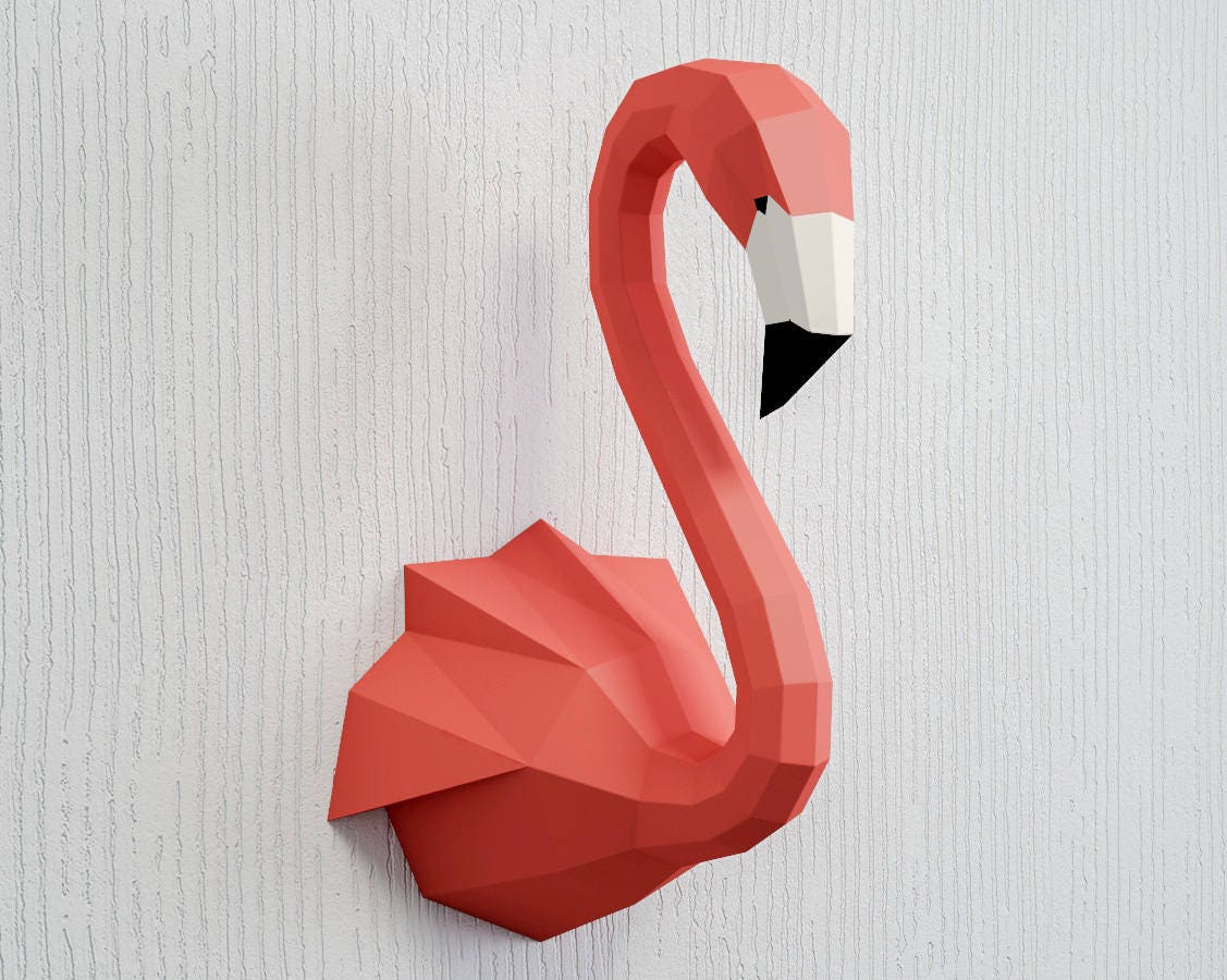 Papercraft Flamingo 3D Paper Craft sculpture animal head