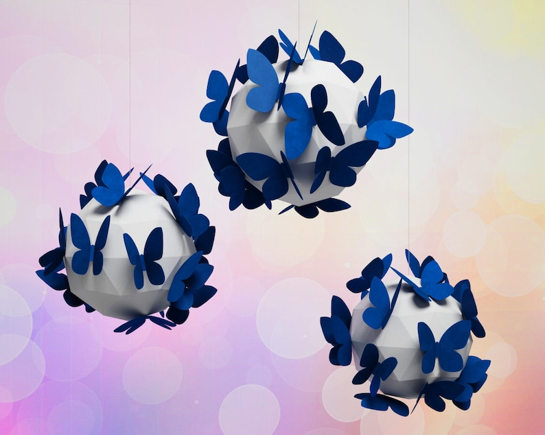 Paper Craft Butterfly On A Sphere Diy Home Decor 3d Etsy