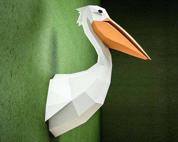 Diy Paper Pelican 3d Papercraft Sculpture Paper Craft Model Etsy