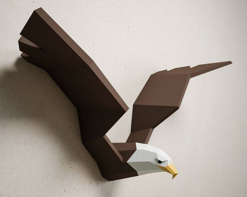 3D Papercraft Eagle, DIY Paper craft bald eagle, hawk vulture falcon condor  bird, animal trophy PDF kit, printable template, low poly model