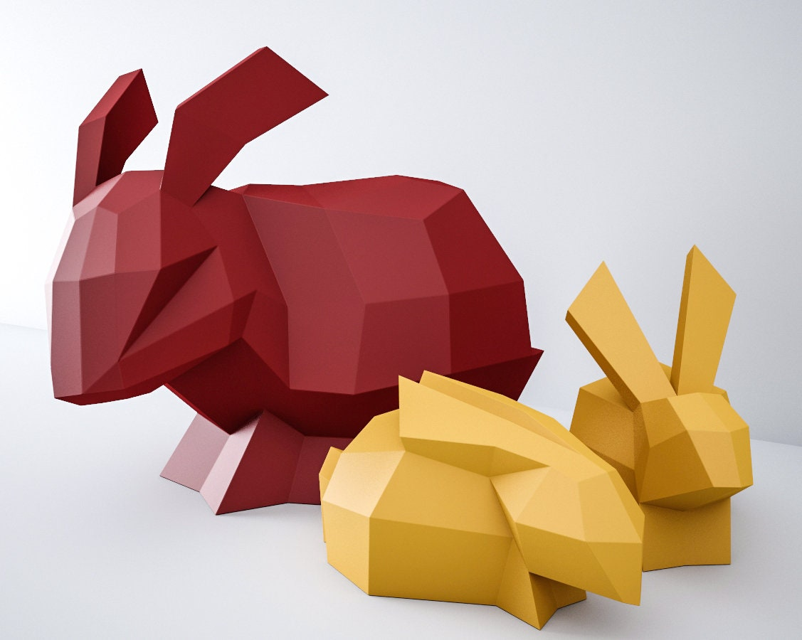 Papercraft Bunny 3d Paper Craft Model Rabbits Family Paper Etsy