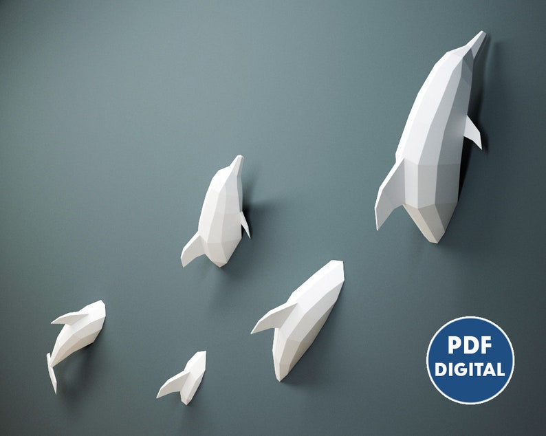 Papercraft Pdf Dolphins 3d Origami Paper Craft Diy Kit Home Etsy