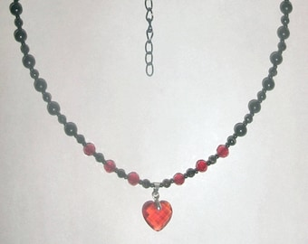 Blackstone and Swarovski Crystal Bloodheart Necklace