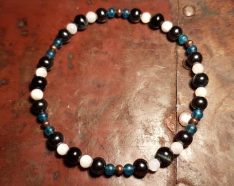 Bradley - Blue Tiger's Eye, Hematite, Mother of Pearl, Apatite