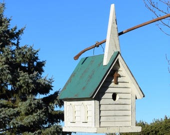 CHURCH BIRDHOUSE hand made Amish green roof  large reclaimed materials