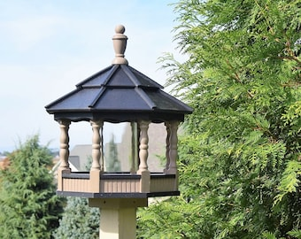 Large Poly Gazebo Bird Feeder Amish Homemade Handcrafted Clay and Black Spindle  Post mount