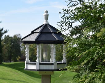 Large Poly Gazebo Bird Feeder Amish Homemade Handcrafted White and Black Spindle  Post mount