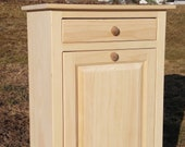 Wood trash can Wooden Trash Bin Tilt Out New Unfinished Amish handcrafted Country Plastic trash Can Included