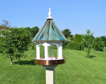 """Round Bird Feeder Amish handmade handcrafted Patina copper roof Large 24"""" inches Tall"""