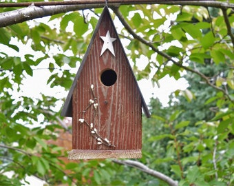 Birdhouse Star & Berries  reclaimed materials Amish handmade Made in USA